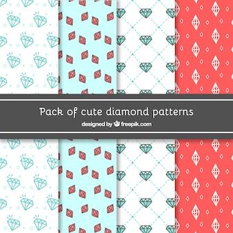 Lot de motifs décoratifs de diamants dessiné à la main