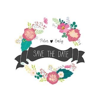 Love wedding floral graphic elements