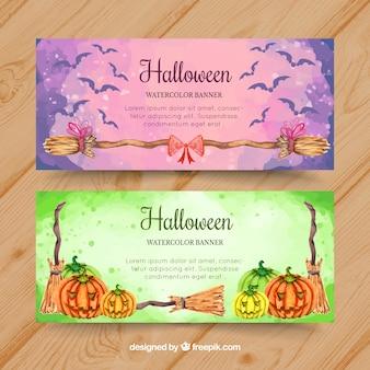 Lovely bannières d'Halloween avec style aquarelle