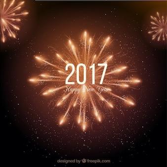 Lumineux nouvelle année feux d'artifice fond