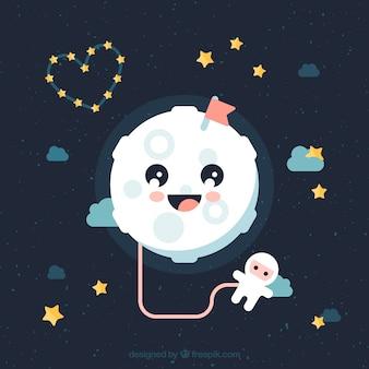 Lune mignonne avec astronaute