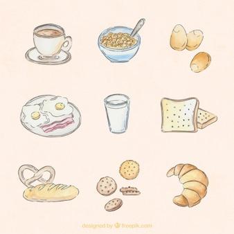 Main aquarelle dessinée délicieux petit déjeuner