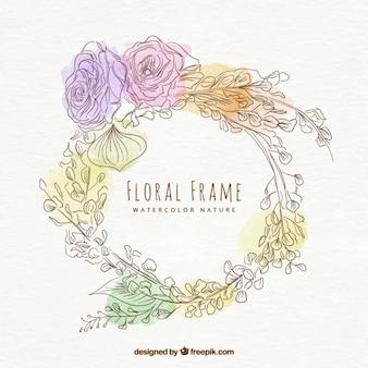 Main aquarelle dessinée floral frame décoratif