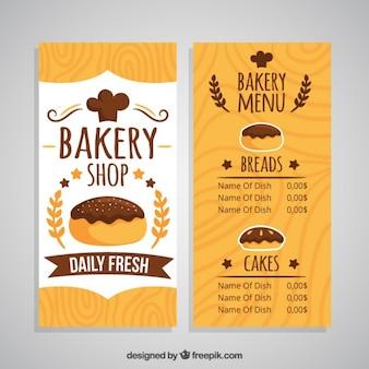 Main boulangerie dessinée modèle de menu de la boutique