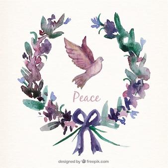 Main carte peinte avec une couronne et de la colombe