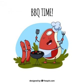 Main Chef dessiné steak avec des saucisses dans un barbecue