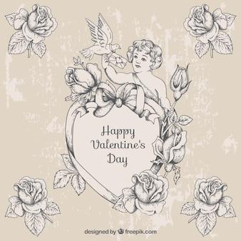 Main cupidon dessinée avec des roses dans le style vintage