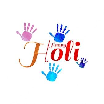 Main dans les taches multicolores de peinture sur la peinture splash fond affiche colorée lumineuse sur l 'illustration Holi Festival de vecteur