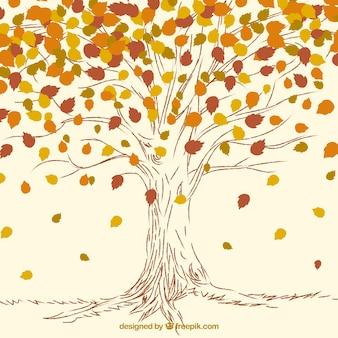 main dessiné automne arbre fond