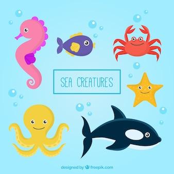 Main dessiné de belles créatures marines emballent