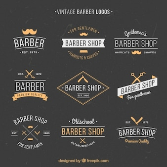 Main dessiné logos de coiffure millésime