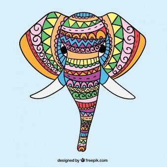 Main ethnique dessiné éléphant coloré