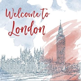 Main ligne d'encre dessinée croquis de Londres Aquarelle fond