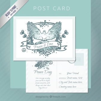 Main paix élaboré carte postale de jour