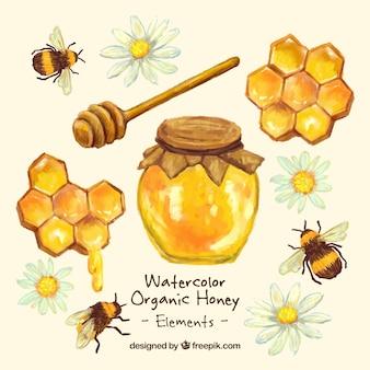 Main pot de miel peint avec nid d'abeille