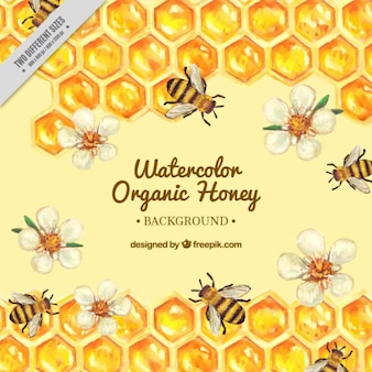 Main ruche peint avec des fleurs et des abeilles fond