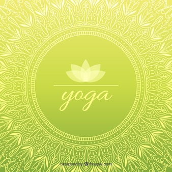 Main yoga ornementale dessinée fond vert