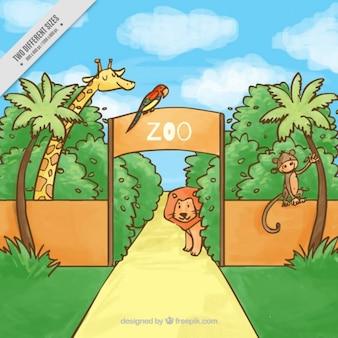 Main zoo dessinée avec des animaux de fond