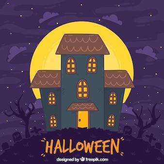 Maison dessinée à la main d'Halloween