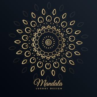 Mandala design doré en style floral