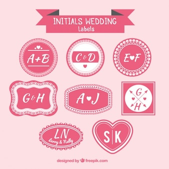Mariage initiales de conception d'étiquettes