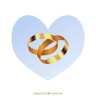 Mariage pack vecteur anneaux d'or