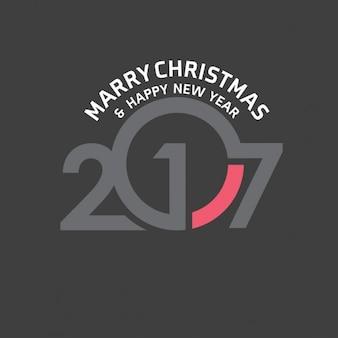 Marry Noël et Bonne année 2017 typographie fond noir