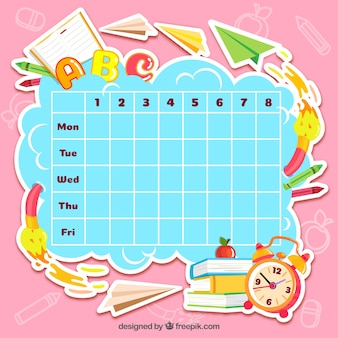 Matériel scolaire amusant et calendrier frais