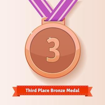 Médaille de bronze de troisième place avec ruban lilas