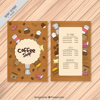 Menu Café avec des objets dessinés à la main