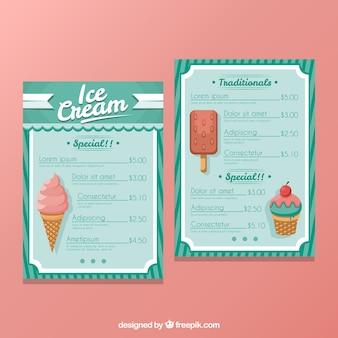 Menu de glaces en style rétro