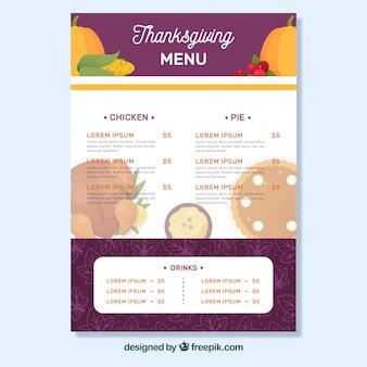 Menu de Thanksgiving au design plat
