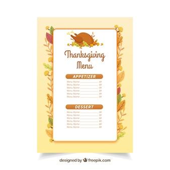 Menu de Thanksgiving dans le style vintage