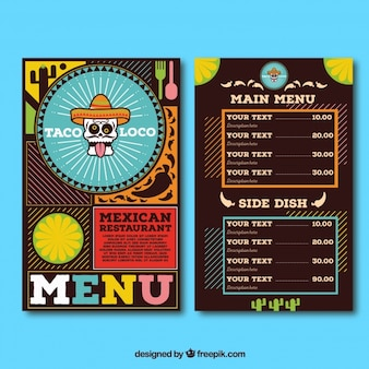 Menu du restaurant, cuisine mexicaine