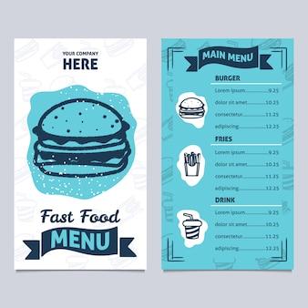 Menu fast food bleu et blanc