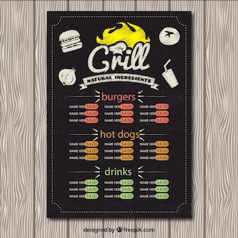 menu Grill à tableau noir