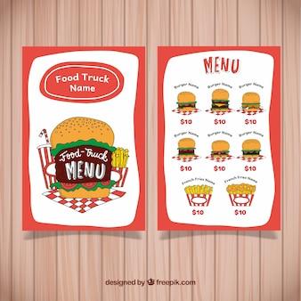Menu hamburger dessiné à la main