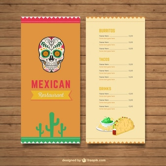 Menu mexicain de restaurant