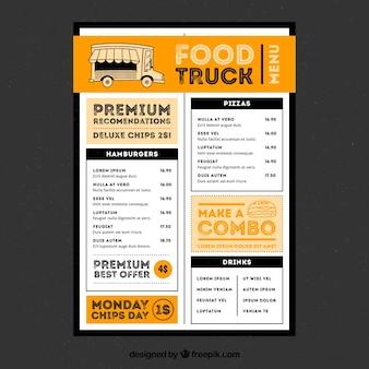Menu moderne de camion alimentaire avec style amusant