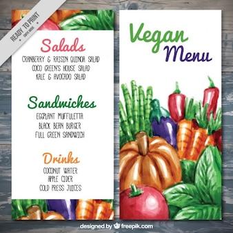 Menu Vegan avec de la nourriture peinte à la main