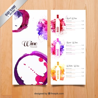 Menu vins de Aquarelle