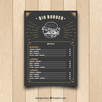 Menu vintage Hamburger