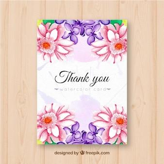 Merci de votre carte avec des fleurs d'aquarelle vintage