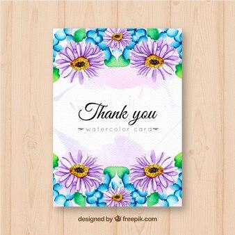 Merci de votre carte avec des marguerites aquarelles