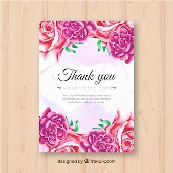 Merci de votre carte avec des roses