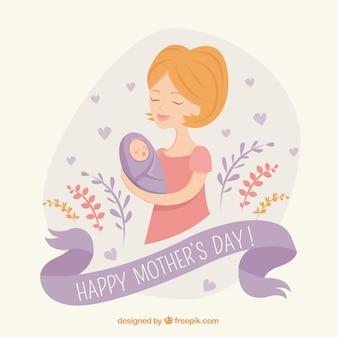 Mère avec un bébé de fond