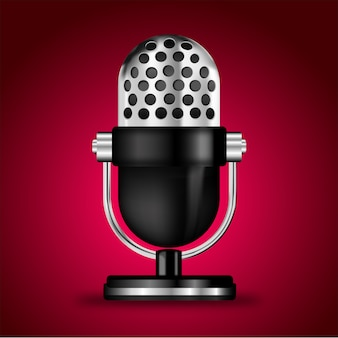 Microphone sur fond rose