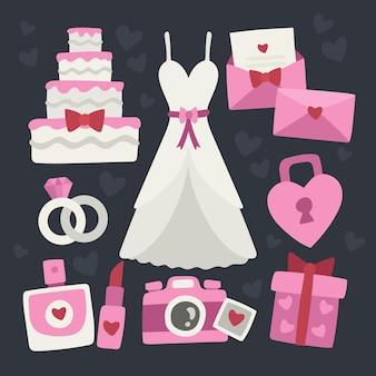 Mignon collection d'éléments de mariage