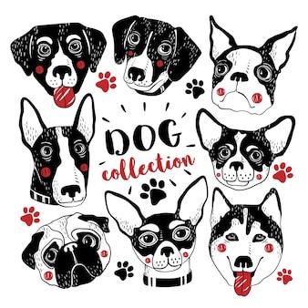 Mignon collection de chiens dessinés à la main