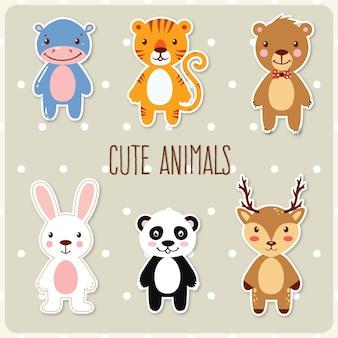 Mignon ensemble d'animaux